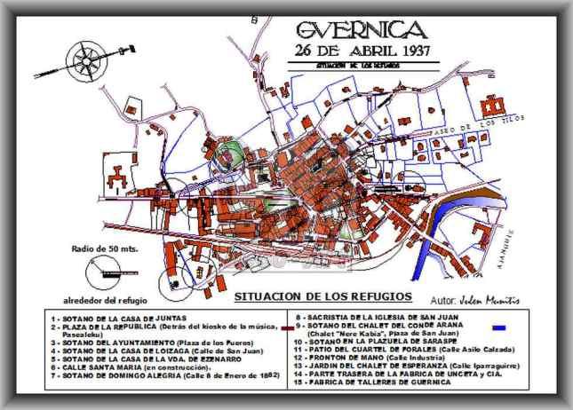 Plano de Gernika y sus refugios