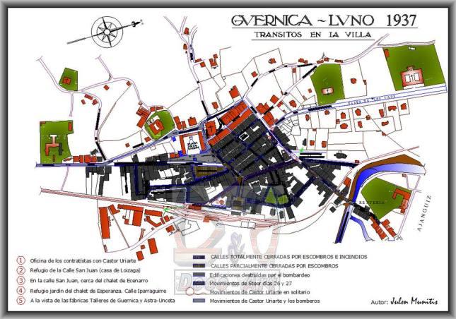 Recorridos en Gernika el 26 y 27 de abril de 1936