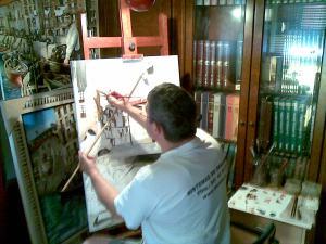 """Pintando óleo de Lekeitio """"AMUAK PRESTATZEN"""". Oleo 65 x 92 cm. Agosto 2009"""