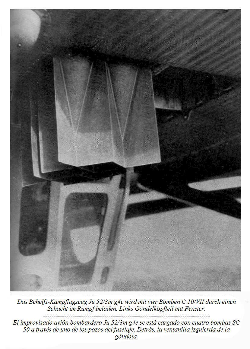 """Una vista de las cuatro bombas SC 50 elevándose por uno de los pozos  delanteros con la bandeja portadora. Detrás la mampara del """"puchero"""""""